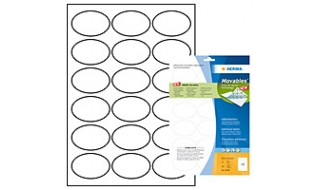Etiketter Herma Special Movables 4358 (10106) A4 63,5x42,3mm Oval Vit, 25 ark/fp (450 etiketter/fp)