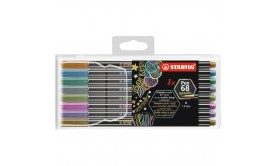 Fiberpenna Stabilo Pen 68 Metallic (6808/8-11), 8 färger/fp