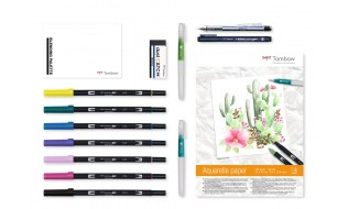 Ritset Tombow HaveFun@Home Set Watercoloring (pennor+akvarellblock)